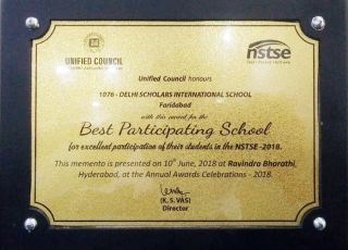 Best Participating School for excellent participation of students in NSTSE-2018